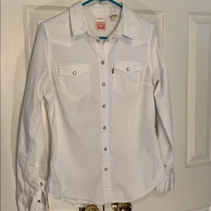 Levi's Western Style White Tailored Shirt Size M
